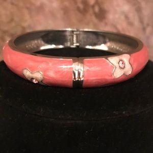 Pretty in Pink Enamel Floral Bangle Bracelet - QVC
